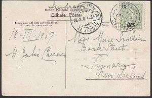 AZORES PONTA DELGADA 1907 postcard used to New Zealand......................J695