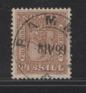NORWAY  10  USED  1863 ISSUE