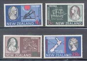 New Zealand Sc 431-4 1969 Capt Cook stamp set mint NH