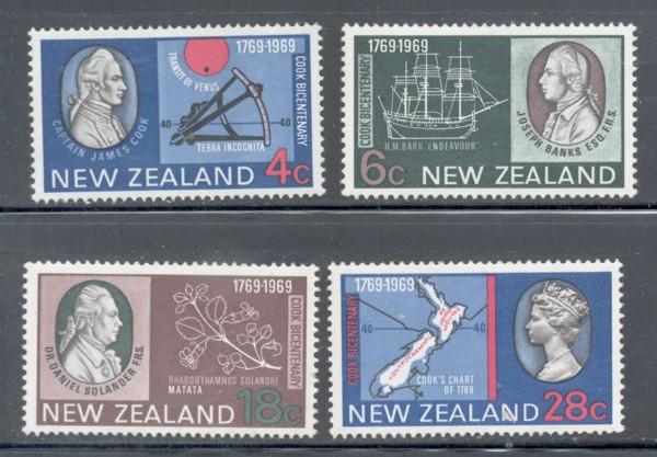 New Zealand Sc 431-4 1969 Capt Cook stamp set mint NH