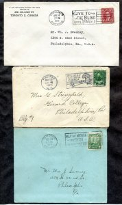 d381 - Canada Lot of (3) Covers with Slogan Cancels