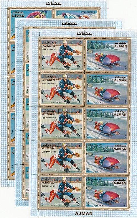 Ajman, Mi cat. 662-667 A. Sapporo Winter Olympics issue as Sheets of 5.