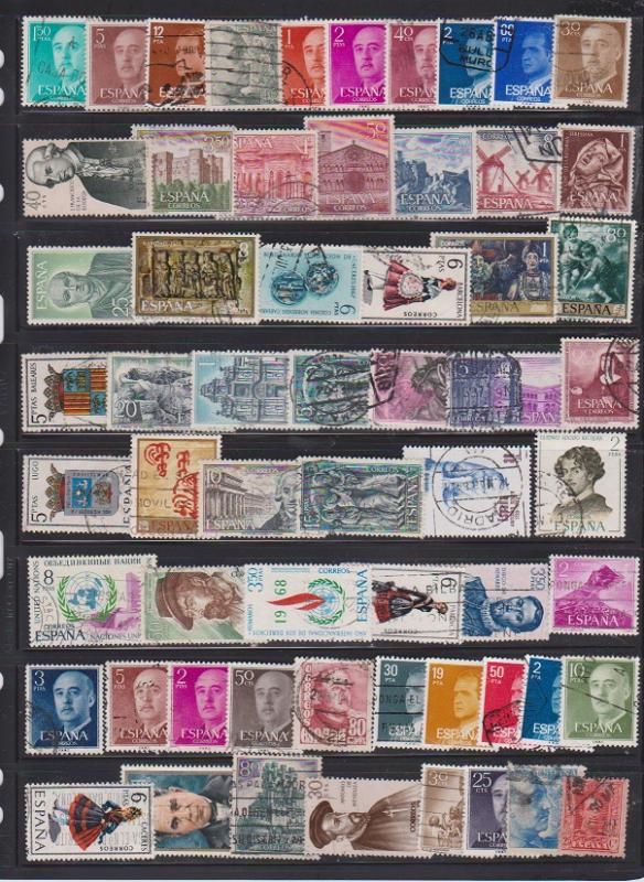 LOT OF DIFFERENT STAMPS OF SPAIN USED (60) LOT#176