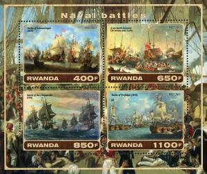 Rwanda Naval Battle Maritime Souvenir Sheet of 4 Stamps Mint NH