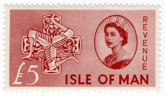(I.B) Elizabeth II Revenue : Isle of Man £5 (Arms of Man)