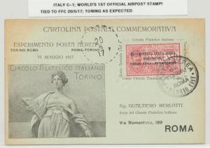ITALY 1917 FIRST FLIGHT CARD, ROMA CDS, 1st OFFICIAL AIRPOST STAMP  (SEE BELOW)