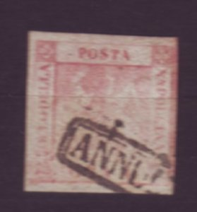 J22624 Jlstamps 1858  italian states two sicilies naples used #2 coat arms