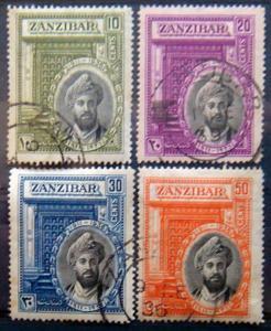 ZANZIBAR 1936 Sultan Khalifa bin Harub COMPLETE SET Used Scott 214-217 CV$10