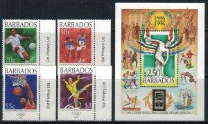 Barbados #913-7* NH  CV $10.25  1996 Olympics set & souvenir sheet