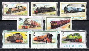 Lesotho, Scott cat. 969-976. African Trains issue.
