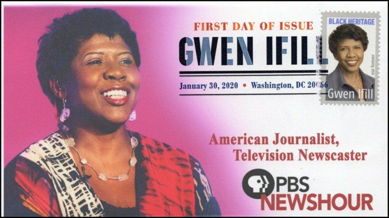 20-016, 2020, Gwen Ifill, Digital Color Postmark, FDC, Black Heritage, Journalis