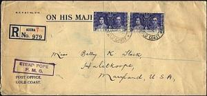 GOLD COAST 1937 Registered OHMS cover Accra to UK, 3d Coronation(2)........18504