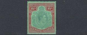 LEEWARD ISLANDS  1938-51  SG 113B 10/-  GREEN &  RED GREEN  MH CAT £150