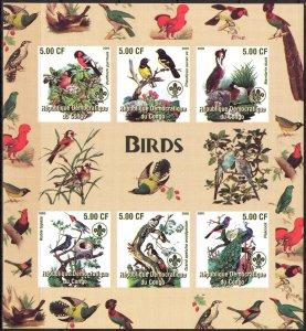 Congo 2005 Scouting Birds Sheet of 6 Imperf. MNH Cinderella !