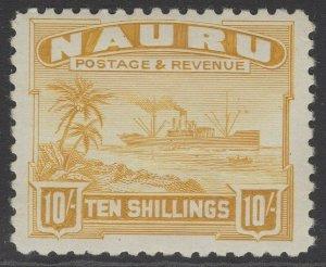 NAURU SG39B 1937 10/= YELLOW MTD MINT