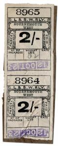 (I.B) London & South Western Railway : Paid Parcel 4/- (Bournemouth West)