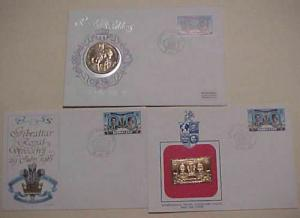 GIBRALTAR   FDC DIANA 1 CROWN COIN & GOLD FOIL TOTAL 3