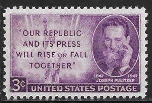 USA 946: 3c Joseph Pulitzer, MNH, VF