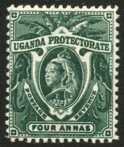 UGANDA-1898-1902 4a Deep Green Sg 88 LIGHTLY MOUNTED MINT V41904