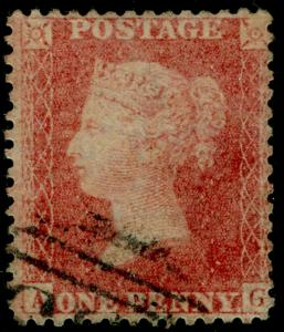 SG38, 1d pale red PLATE 39, LC14, FINE USED. Cat £35. AG