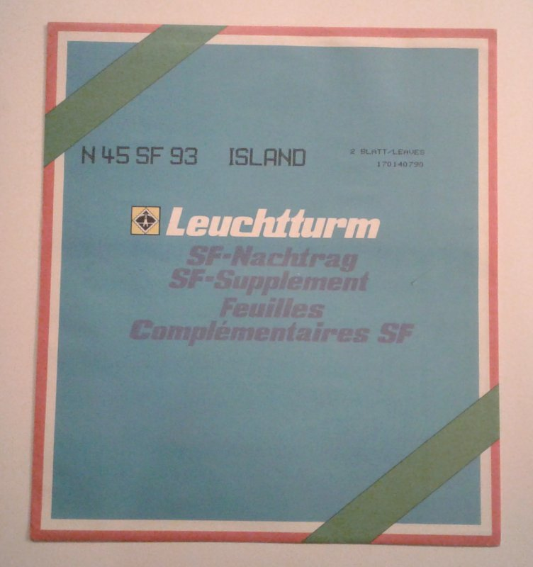 Lighthouse/Leuchtturm Hingeless Stamp Album Pages, Iceland 1992-3, 2 Pages
