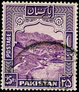 PAKISTAN SG43, 25r violet, FINE USED, CDS. Cat £140. PERF 14.