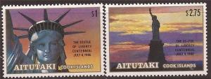 Aitutaki 1986 Statue of Liberty 2 Stamp Set 1M-015