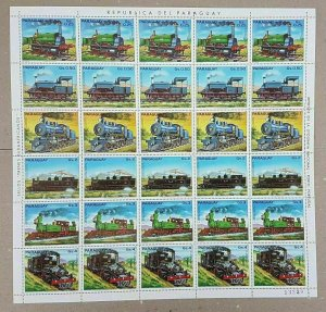 EC134 1982 PARAGUAY TRANSPORTATION TRAINS !!! BIG SH FOLDED IN 2 MNH