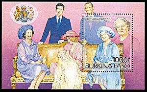 Burkina Faso 707, MNH, 85th Birthday of Queen Mother Souvenir sheet
