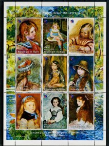 Niger MNH S/S Renoir Paintings 1998 9 Stamps