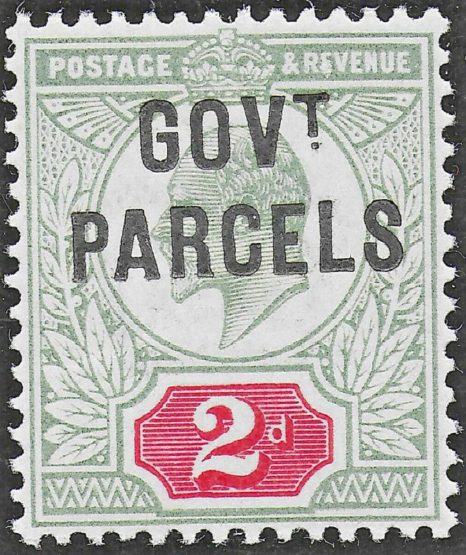 Edward VII SG 075 1902(Govt Parcel) Yellowish Green & Carmine Red Mint UNMOUNTED