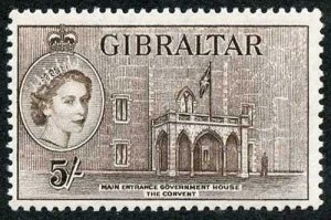 Gibraltar SG156 1953 5/- Deep Brown U/M
