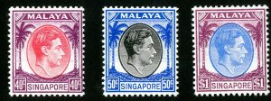 Singapore Stamps # 16-18 VF MH