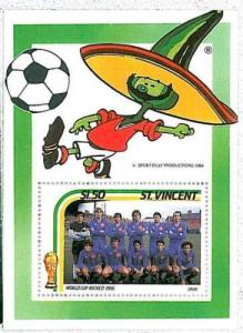 STAMPS -  SPORT FOOTBALL - ST VINCENT 1986: SPAIN