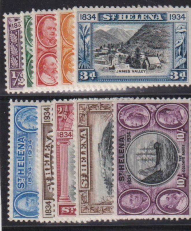 St Helena 1934 SC 101-110 MLH