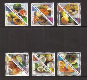Surinam  #1214-1219  cancelled  2000  fruits in pairs