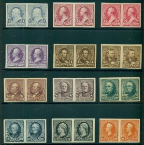 US #219-29P5 1¢ - 90¢ Complete set IMPERF PROOF PAIRS on stamp paper Scott $5355