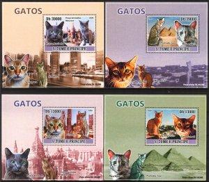 {035} Sao Tome & Principe 2009 Cats 4 S/S Deluxe MNH**