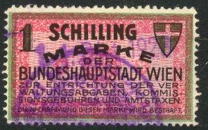 AUSTRIA 1927 1s VIENNA ADMINSTRATION FEE REVENUE BFT.27 VFU