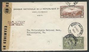 HAITI 1944 censor cover Port - Au - Prince to USA..........................43670