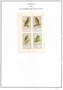 SCOTLAND - STAFFA - 1981 - Birds, Owls - Perf 4v Sheet - MLH