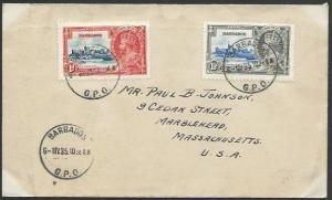 BARBADOS 1935 Jubilee 1d & 1½d on cover to USA, first day cancel...........53069