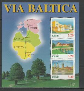 Estonia 1995 Architecture Via Baltica MNH Block
