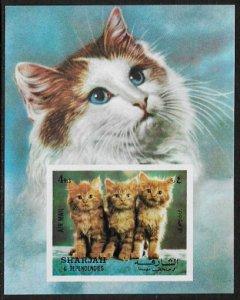 Sharjah MNH S/S Cats Kittens 1972