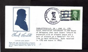 VA Cpt Captain Jack Jouett Cuckoo to Charlottesville Virginia Stamp Cover