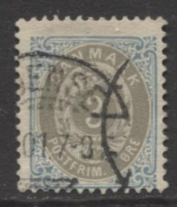 Denmark - Scott 41 - Definitive Issue -1875 - Used - Single 3s Stamp