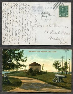 3719- CATARAQUI Ontario Frontenac 1914 Broken Circle on Kingston Postcard to USA