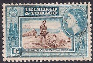 Trinidad & Tobago 1953 - 59 QE2 6ct Brown & Blue used SG 272 ( G1180 )