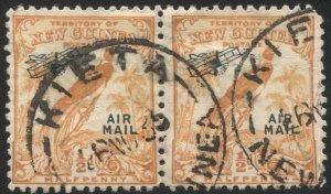 NEW GUINEA 1932 Sc C28, Used pair VF 1/2c , SOTN  KIETA postmark/cancel