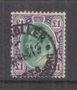 TRANSVAAL, 1908 KEVII, Mult. CA, One Pound Green & Violet,Telegraph cancel.